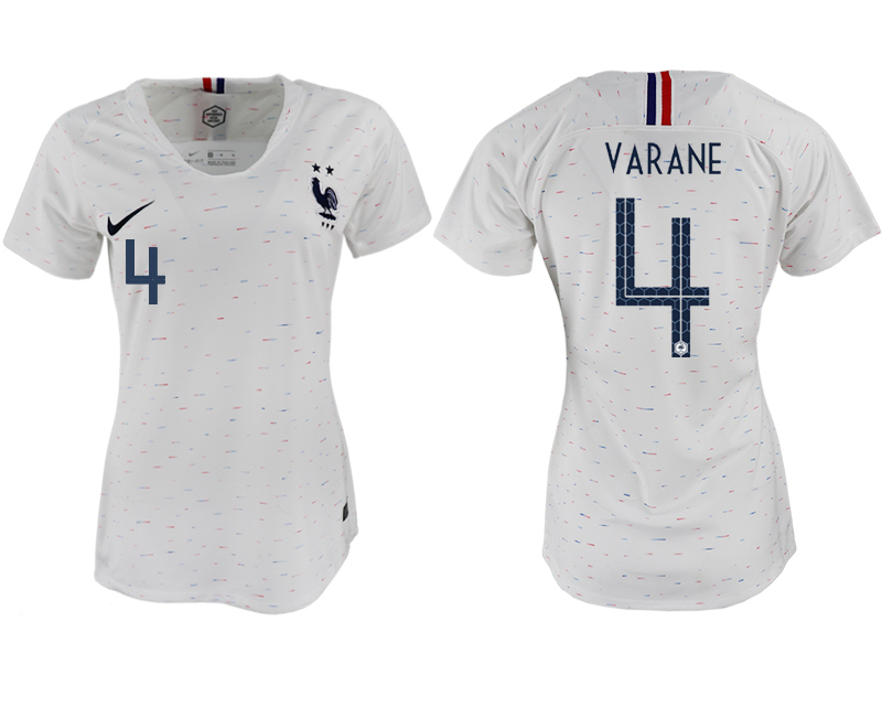 France 4 VARANE Away Women 2018 FIFA World Cup Soccer Jersey