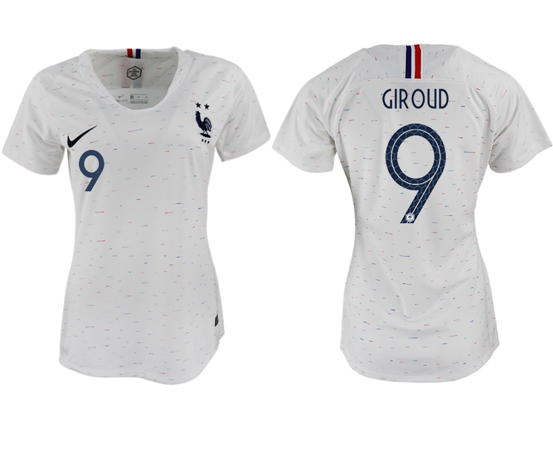 France 9 GIROUD Away Women 2018 FIFA World Cup Soccer Jersey