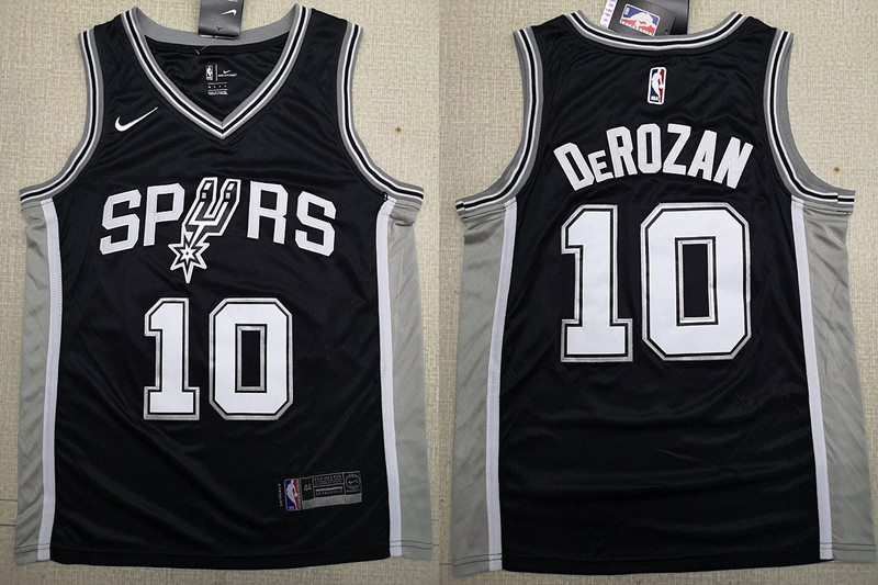 Spurs 10 DeMar DeRozan Black 2018-19 Nike Swingman Jersey