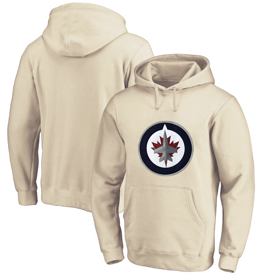 Winnipeg Jets Cream Men's Customized All Stitched Pullover Hoodie