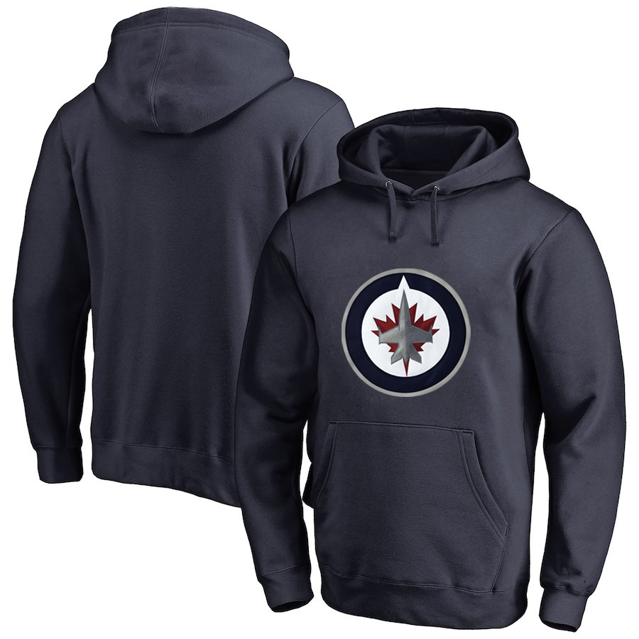 Winnipeg Jets Navy Men's Customized All Stitched Pullover Hoodie