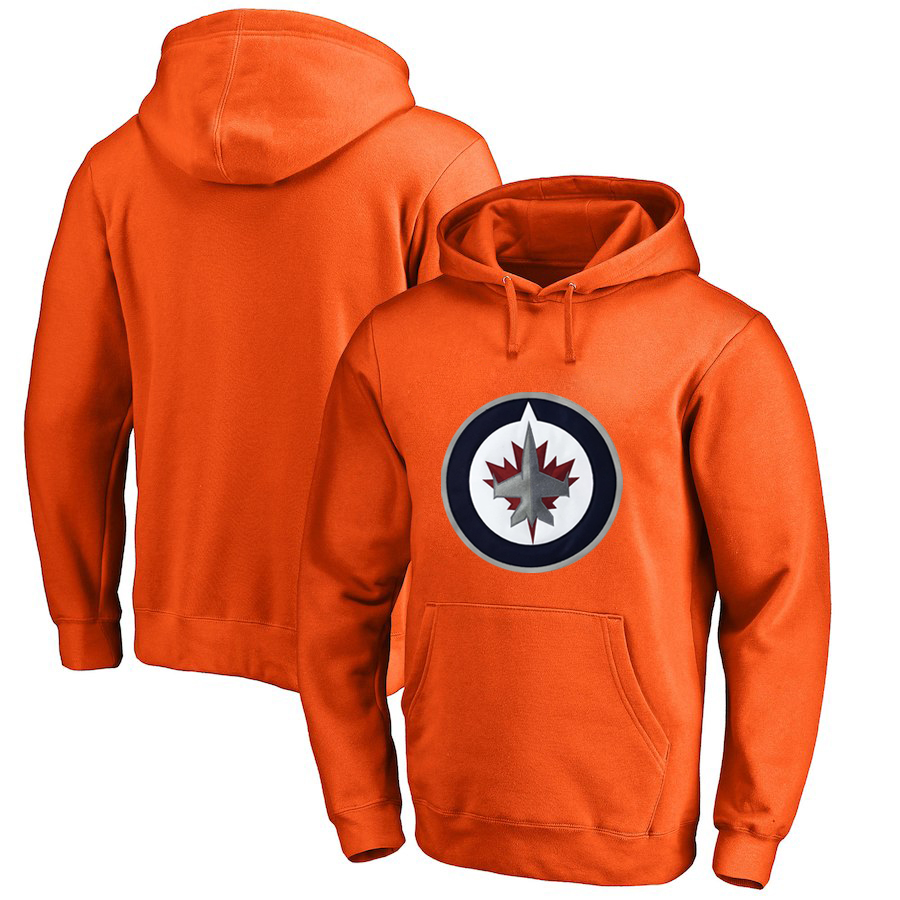 Winnipeg Jets Orange Men's Customized All Stitched Pullover Hoodie