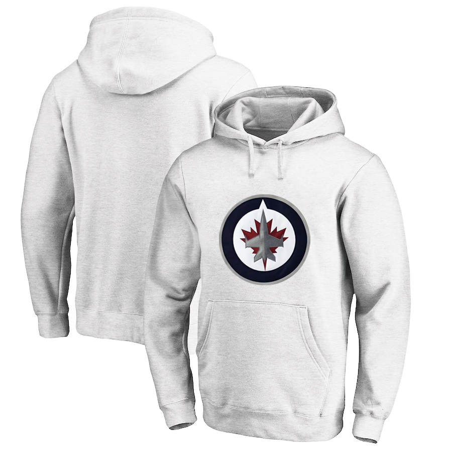 Winnipeg Jets White Men's Customized All Stitched Pullover Hoodie