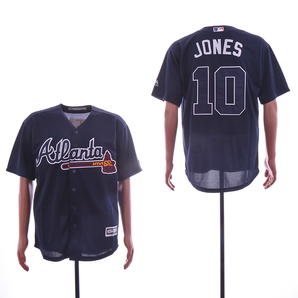 Braves 10 Chipper Jones Navy Cool Base Jersey
