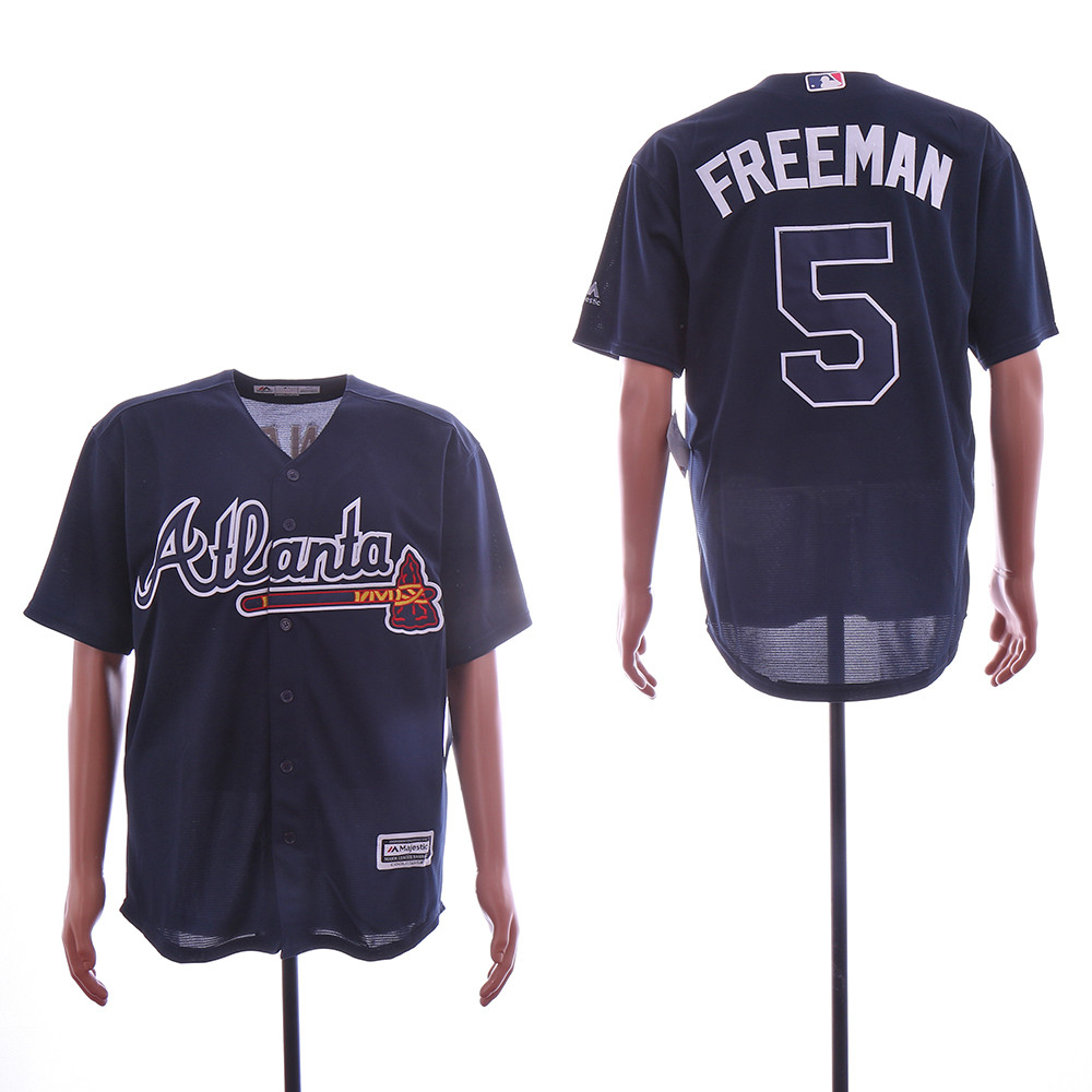 Braves 5 Freddie Freeman Navy Cool Base Jersey