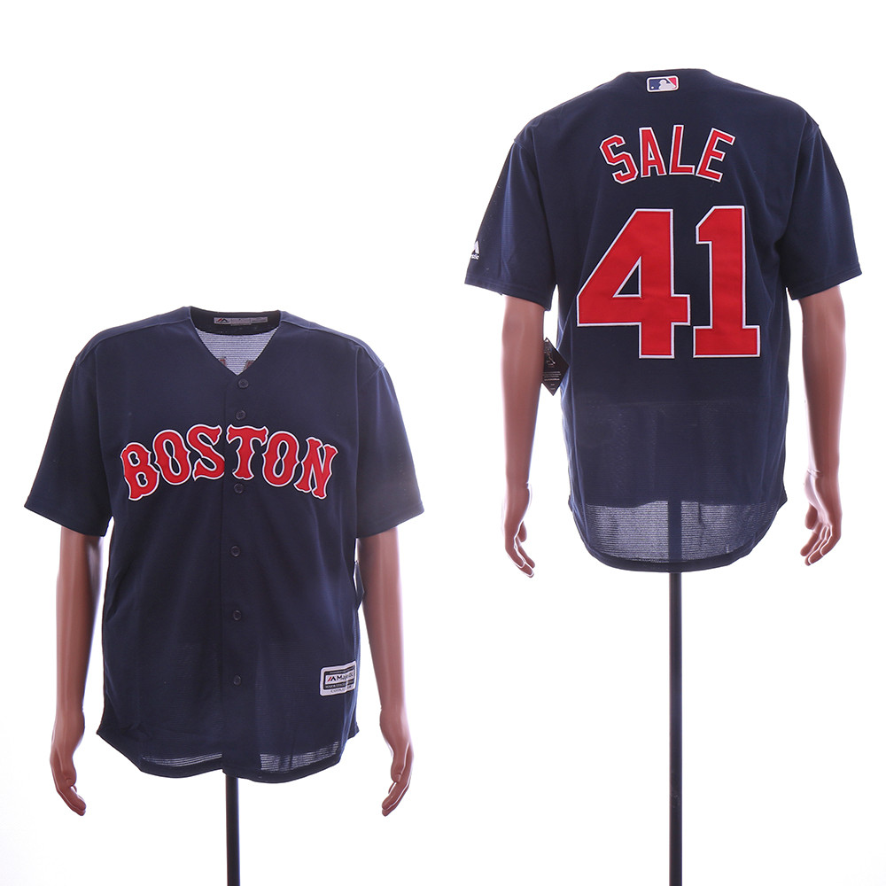 Red Sox 41 Chris Sale Navy Cool Base Jersey