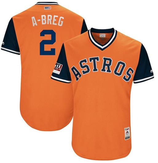 Astros 2 Alex Breg A Breg Orange 2018 Players' Weekend Authentic Team Jersey