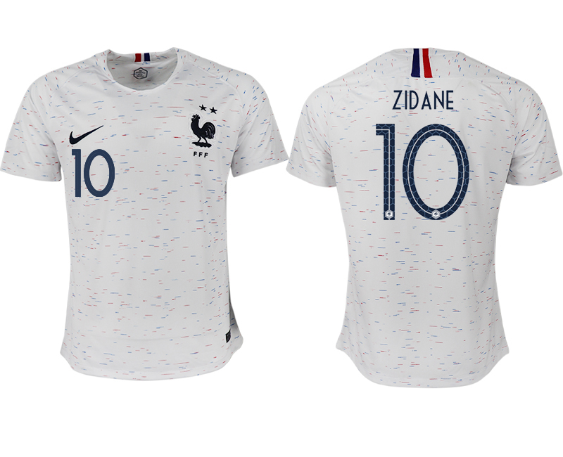 France 10 ZIDANE Away 2018 FIFA World Cup Thailand Soccer Jersey