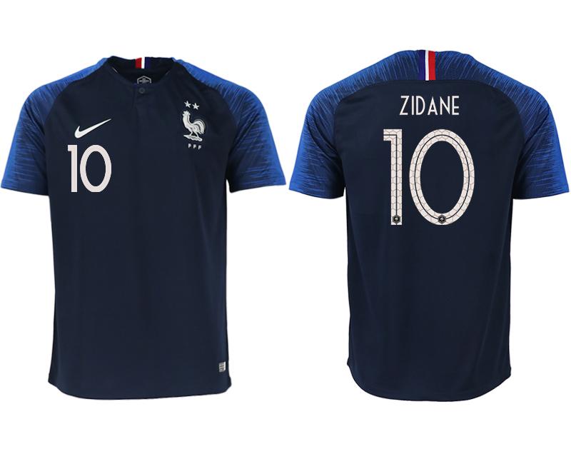 France 10 ZIDANE Home 2018 FIFA World Cup Thailand Soccer Jersey