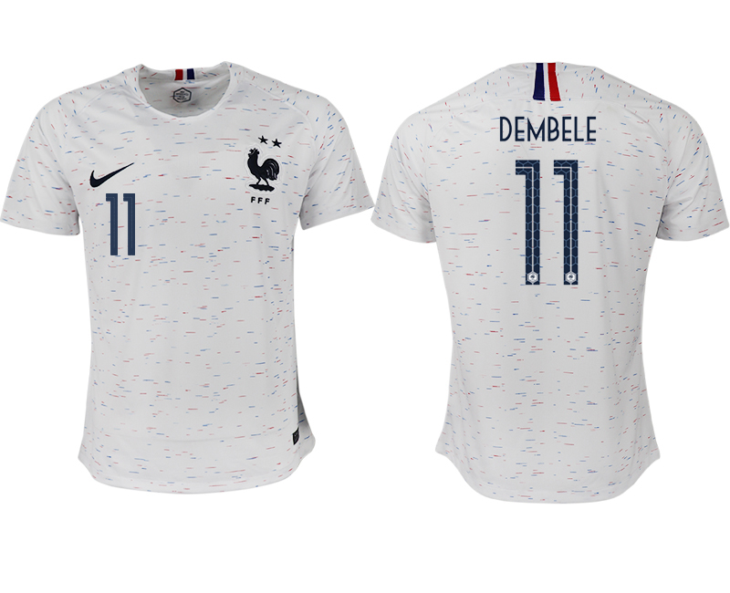 France 11 DEMBELE Away 2018 FIFA World Cup Thailand Soccer Jersey