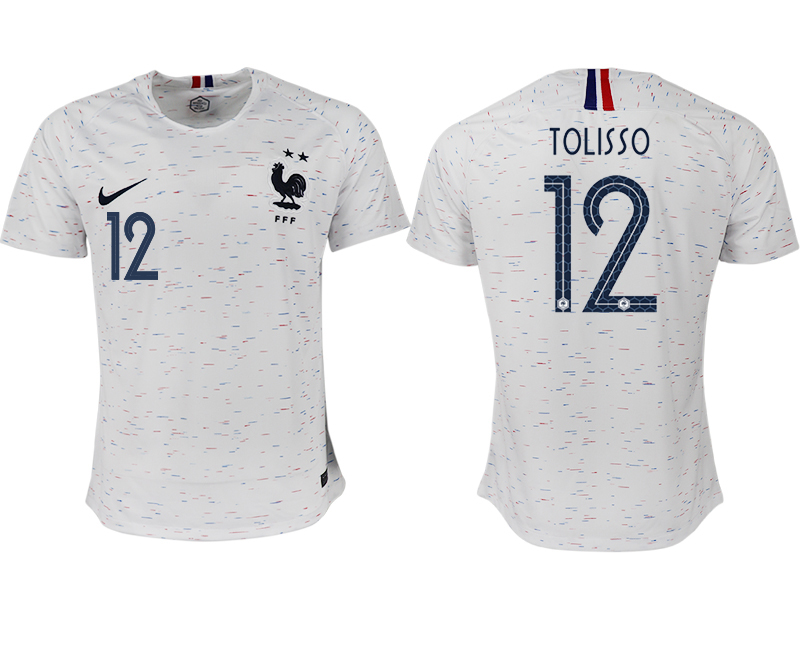 France 12 TOLISSO Away 2018 FIFA World Cup Thailand Soccer Jersey