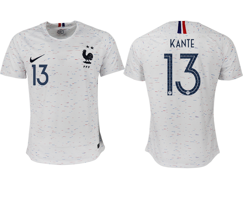 France 13 KANTE Away 2018 FIFA World Cup Thailand Soccer Jersey