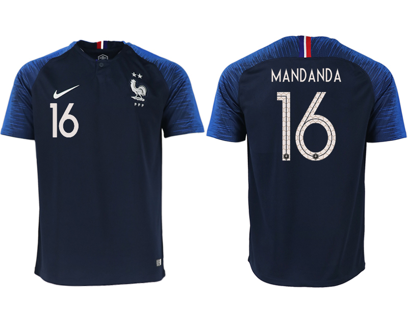 France 16 MANDANDA Home 2018 FIFA World Cup Thailand Soccer Jersey