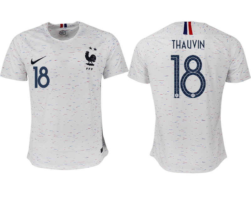 France 18 THAUVIN Away 2018 FIFA World Cup Thailand Soccer Jersey