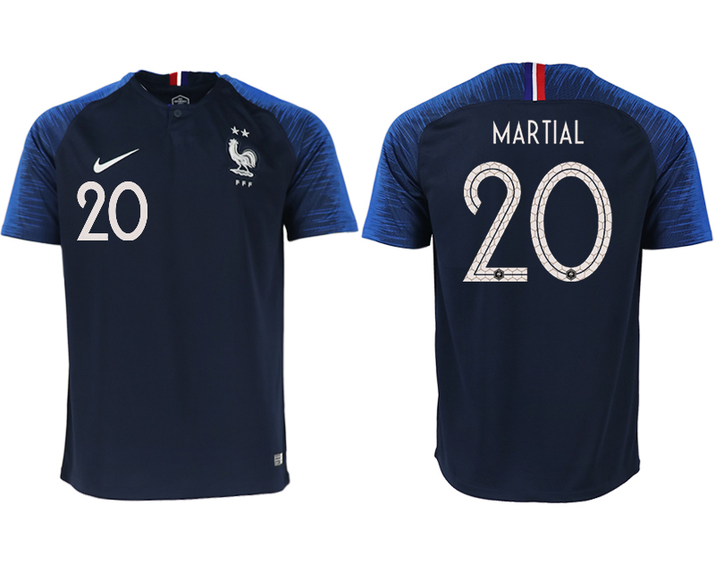 France 20 MARTIAL Home 2018 FIFA World Cup Thailand Soccer Jersey
