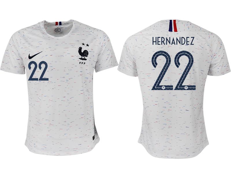 France 22 HERNANDEZ Away 2018 FIFA World Cup Thailand Soccer Jersey