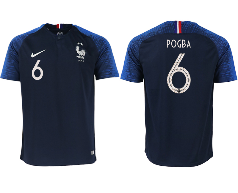 France 6 POGBA Home 2018 FIFA World Cup Thailand Soccer Jersey