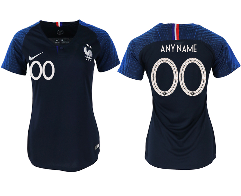France Home 2018 FIFA World Cup Customized Women Soccer Jersey