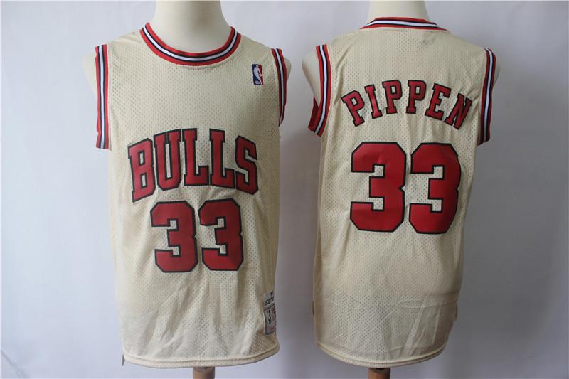 Bulls 33 Scottie Pippen Cream Hardwood Classics Jersey