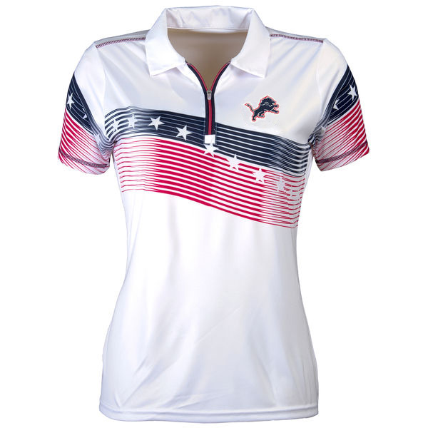 Women's Antigua Detroit Lions White Patriot Polo