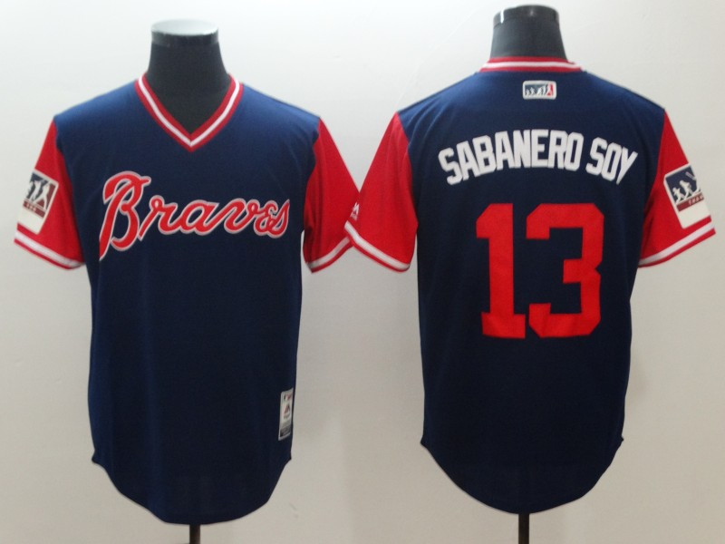 Braves 13 Ronald Acuna Jr. Sabanero Soy Navy 2018 Players' Weekend Authentic Team Jersey