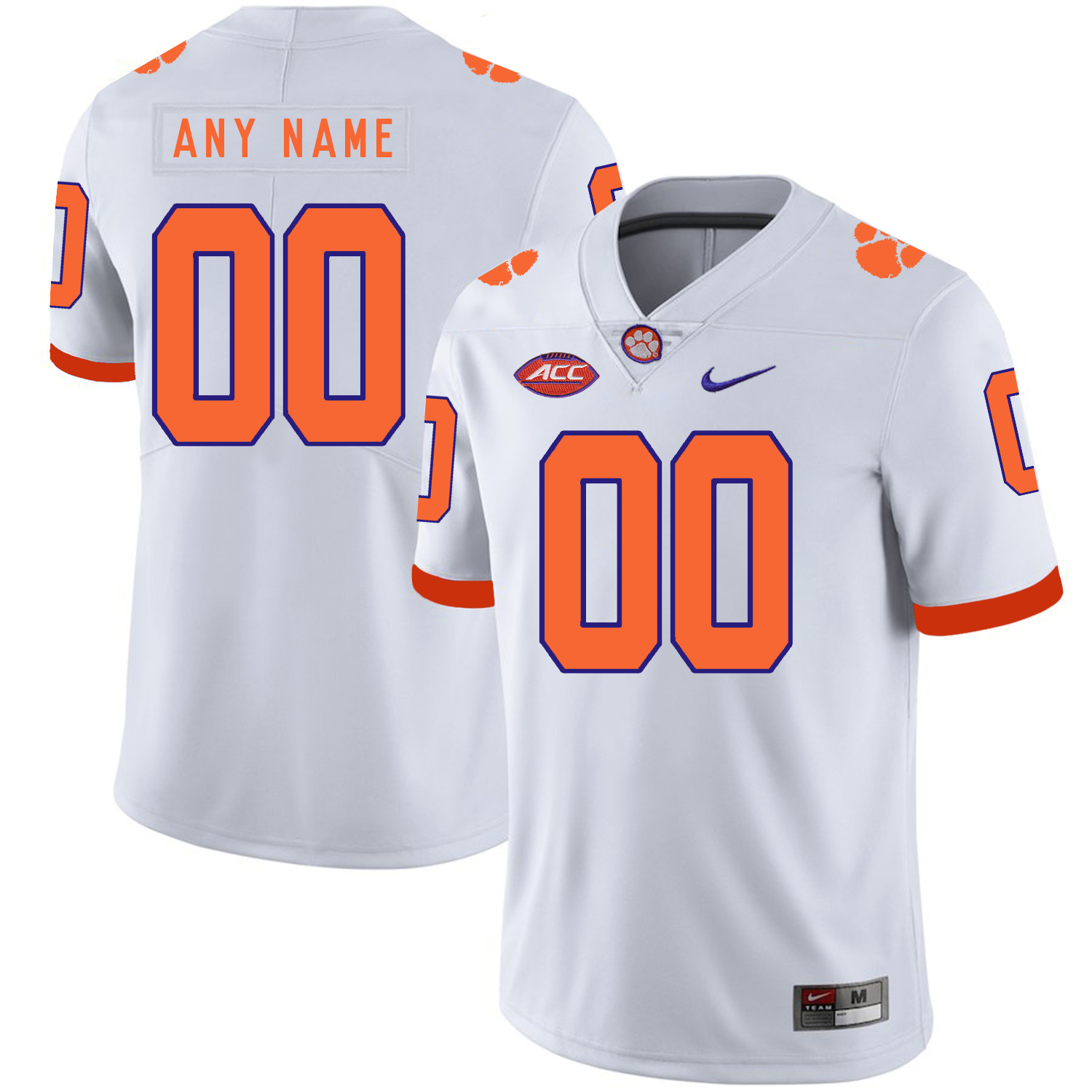 Clemson Tigers White Men's Customized Nike College Football Jersey