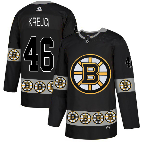 Bruins 46 David Krejci Black Team Logos Fashion Adidas Jersey
