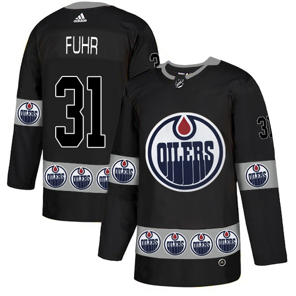Oilers 31 Grant Fuhr Black Team Logos Fashion Adidas Jersey