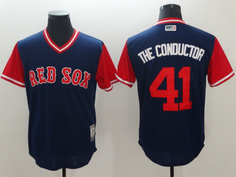 Red Sox 41 Chris Sale The Conductor Navy 2018 Players' Weekend Authentic Team Jersey