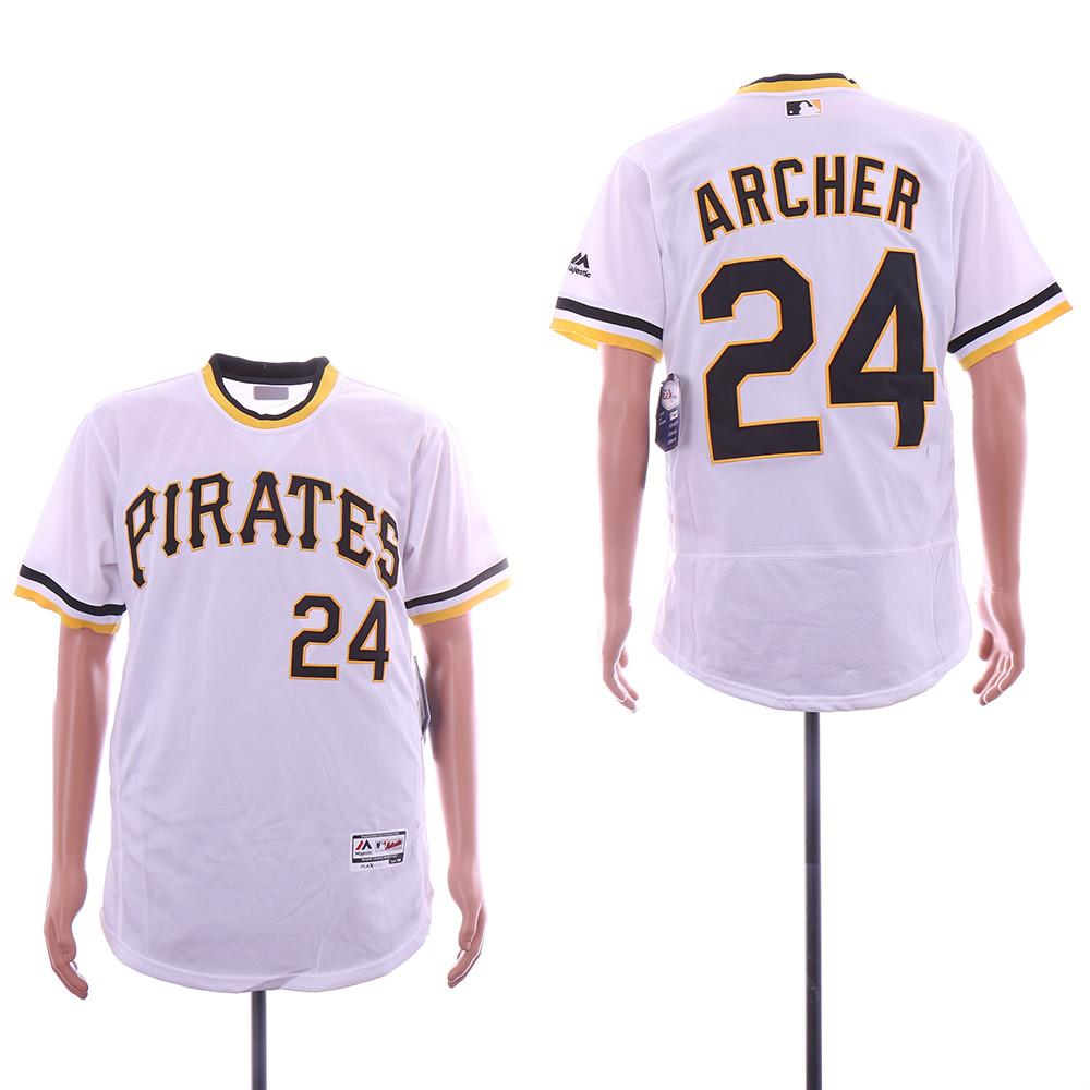 Pirates 24 Chris Archer White Throwback Flexbase Jersey