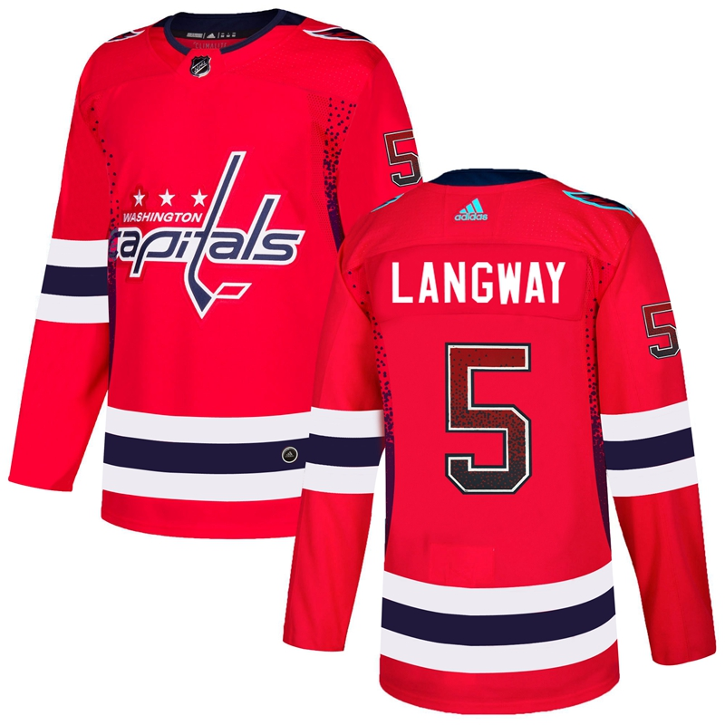 Capitals 5 Rod Langway Red Drift Fashion Adidas Jersey