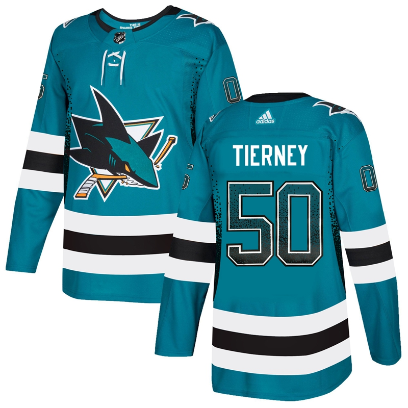 Sharks 50 Chris Tierney Teal Drift Fashion Adidas Jersey