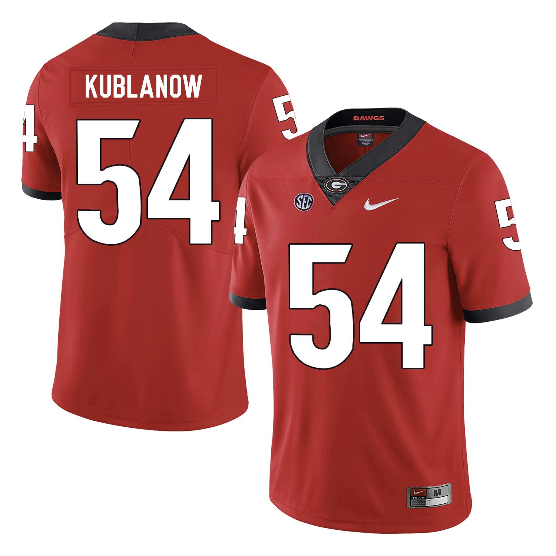 Georgia Bulldogs 54 Brandon Kublanow Red Nike College Football Jersey