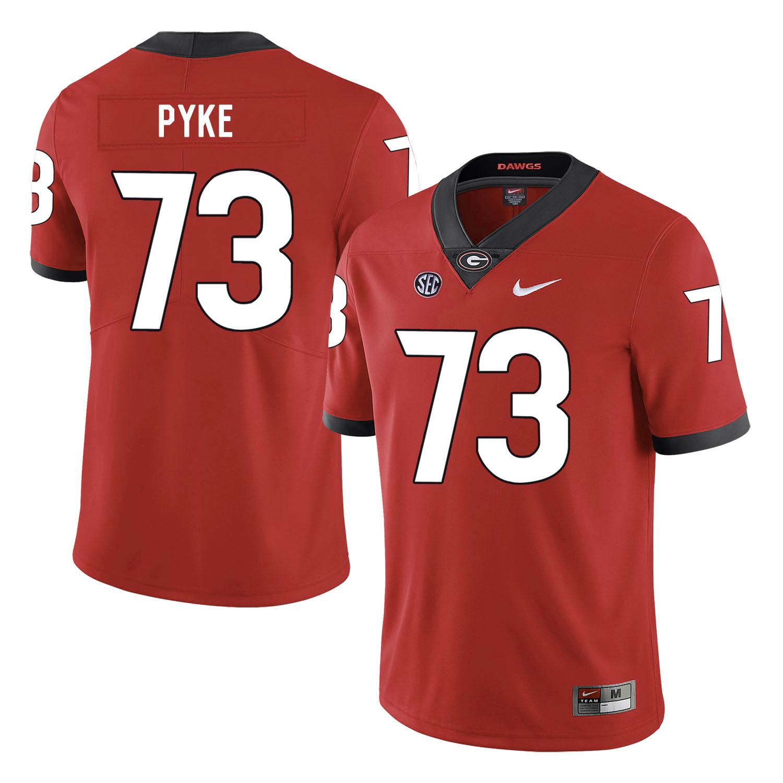 Georgia Bulldogs 73 Greg Pyke Red Nike College Football Jersey