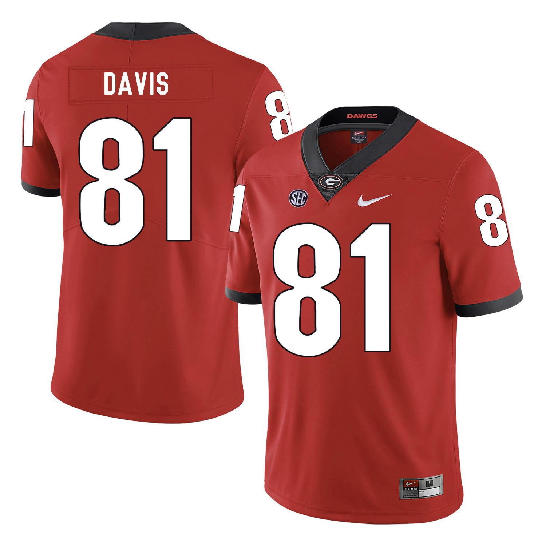 Georgia Bulldogs 81 Reggie Davis Red Nike College Football Jersey