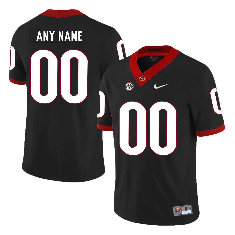 Georgia Bulldogs Black Men's Customized Nike College Football Jersey