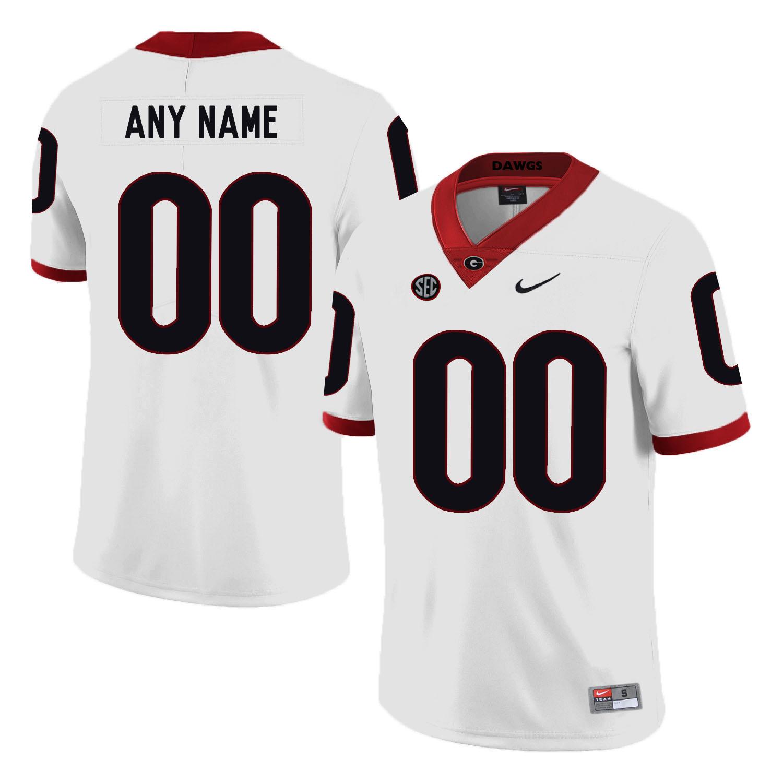 Georgia Bulldogs White Men's Customized Nike College Football Jersey