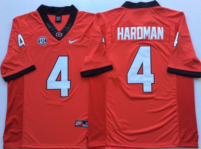 Georgia Bulldogs 4 Mecole Hardman Red Nike College Football Jersey