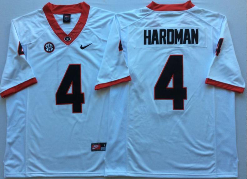 Georgia Bulldogs 4 Mecole Hardman White Nike College Football Jersey
