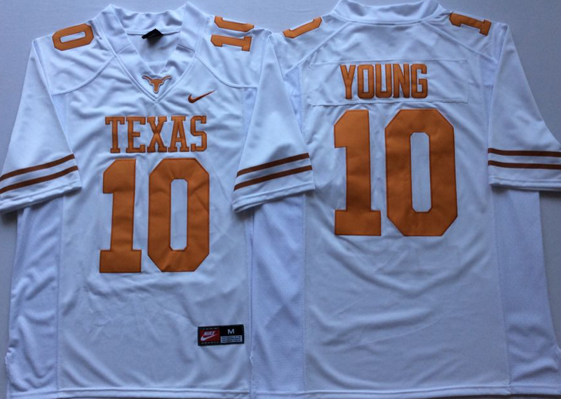 Texas Longhorns 10 Vince Young White Nike College Football Jersey