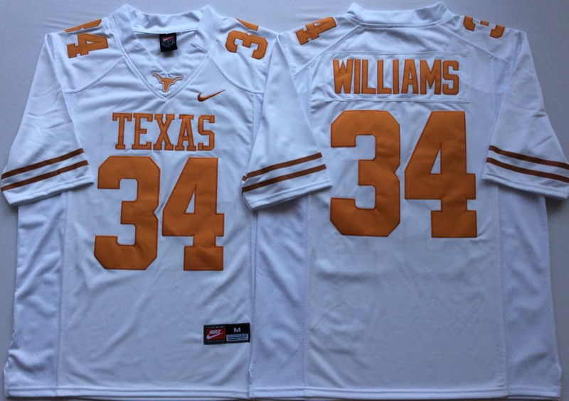 Texas Longhorns 34 Ricky Williams White Nike College Jersey