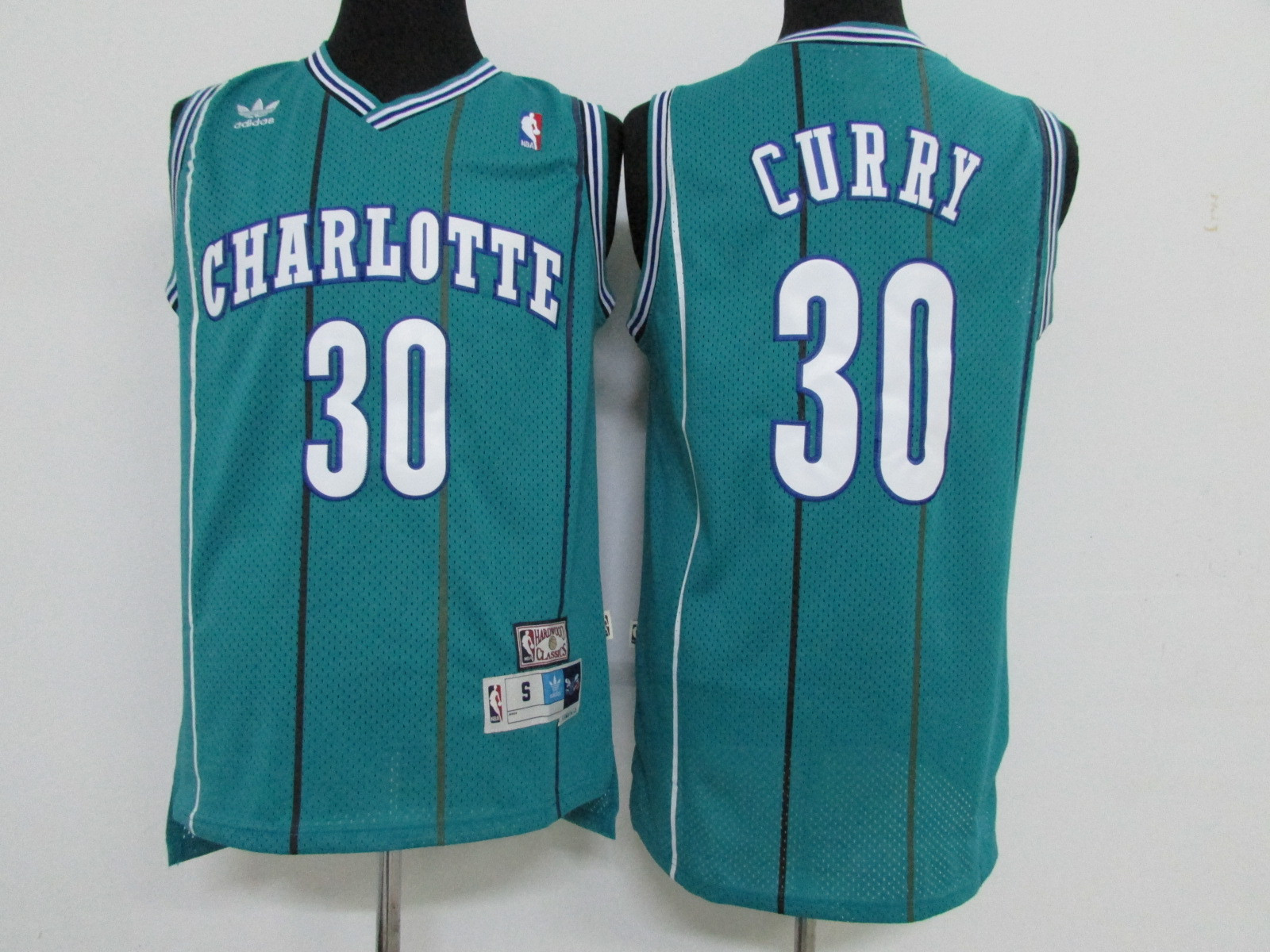 Hornets 30 Dell Curry Teal Hardwood Classics Jersey