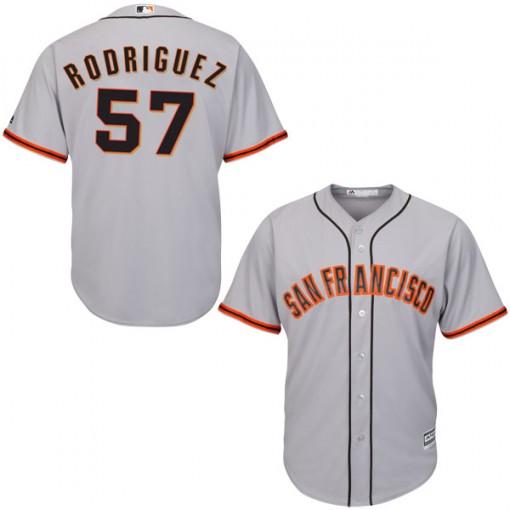 Giants 57 Derek Rodriguez Gray Cool Base Jersey