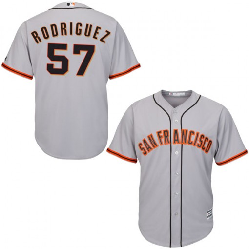 Giants 57 Derek Rodriguez Gray Youth Cool Base Jersey
