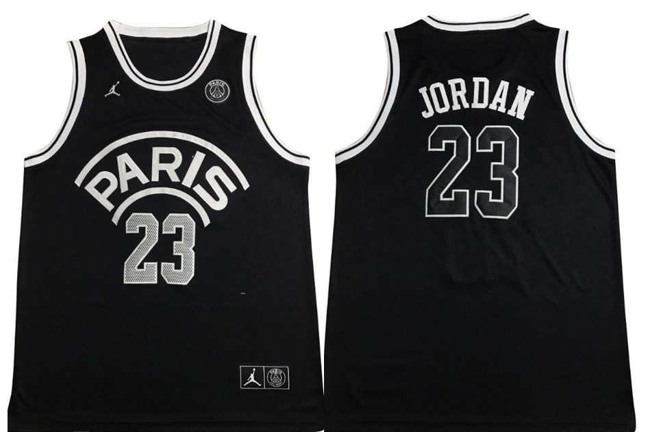 Paris Saint-Germain 23 Michael Jordan Black Jordan Fashion Jersey