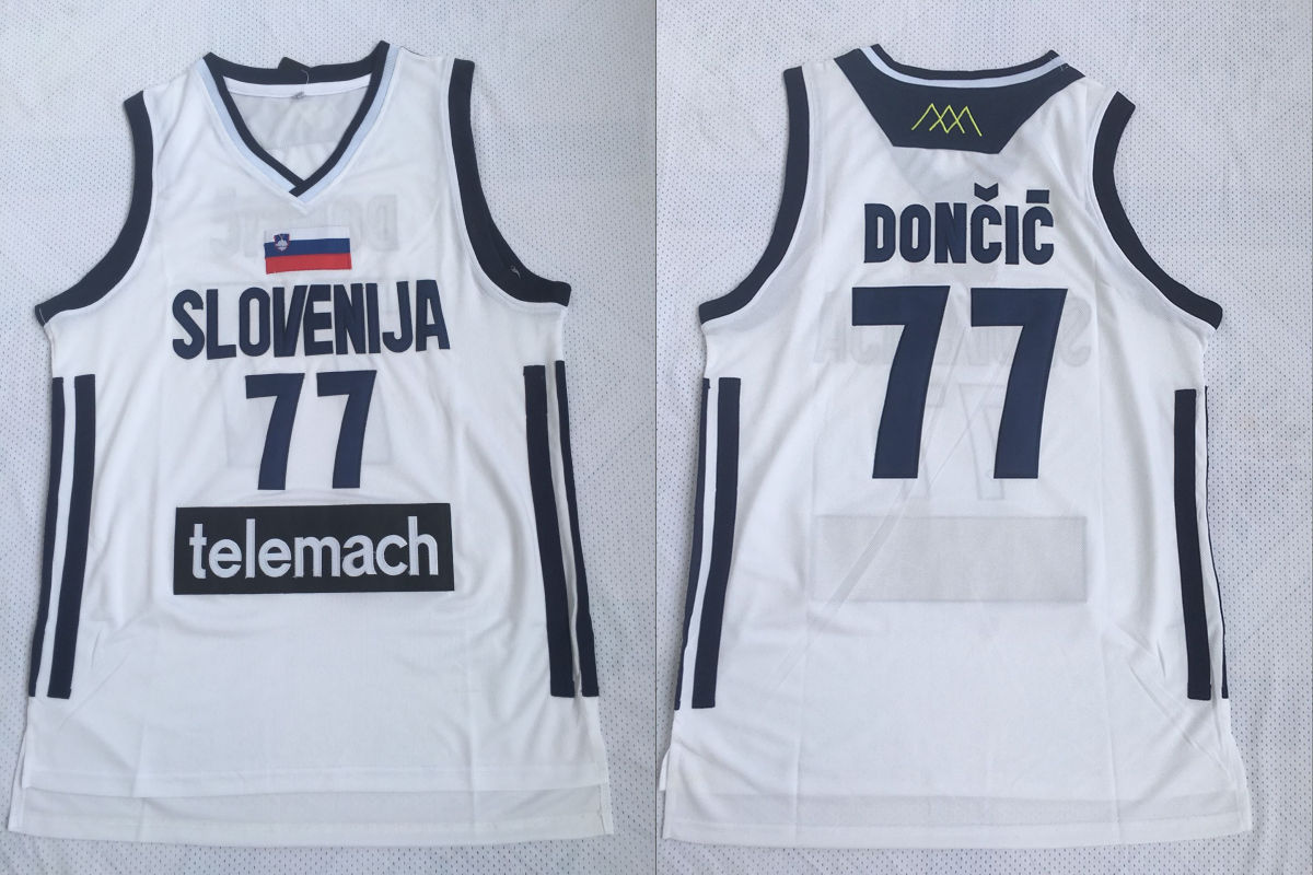 Slovenija 77 Luka Doncic White National Basketball Jersey