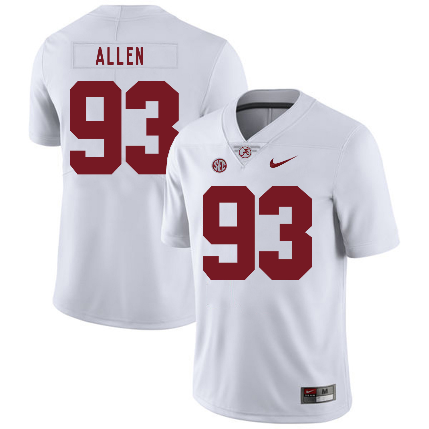 Alabama Crimson Tide 93 Jonathan Allen White Nike College Football Jersey