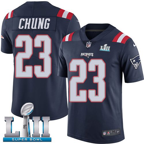 Nike Patriots 23 Patrick Chung Navy 2018 Super Bowl LII Color Rush Limited Jersey