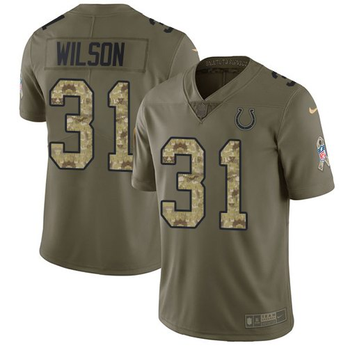 Nike Colts 31 Quincy Wilson Olive Camo Salute To Service Limited Jersey