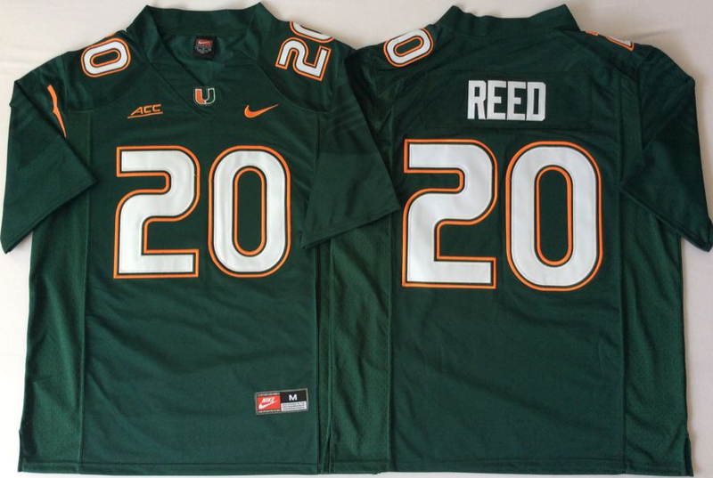 Miami Hurricanes 20 Ed Reed Green Nike College Football Jersey